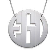 0.925 Silver Big Monogram Necklace - Block