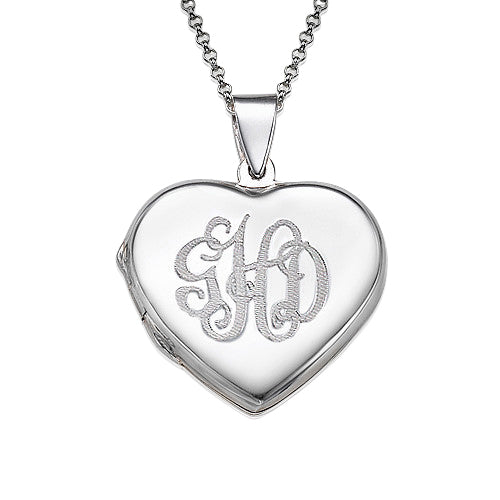 0.925 Silver Heart Locket - With Monogram