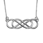 0.925 Silver Double Infinity Necklace