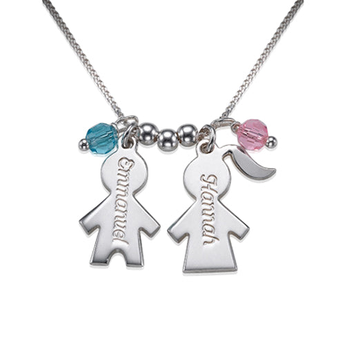 0.925 Silver Engraved Kids Charms Birthstones Necklace