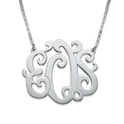 0.925 Silver Swirly Monogrammed Necklace