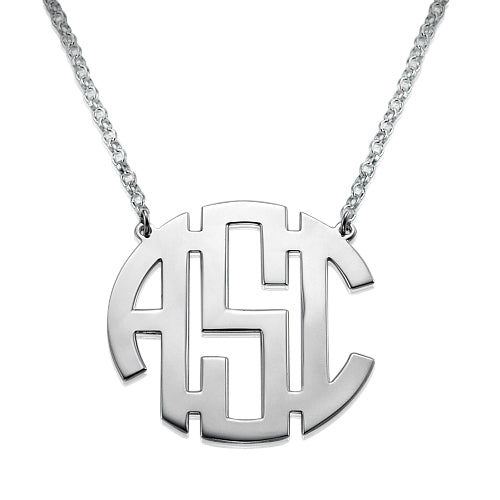 0.925 Sterling Silver Block Monogram Necklace