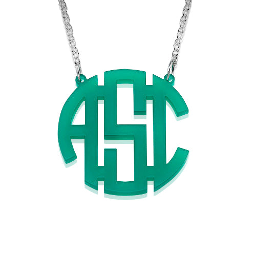 High Quality Acrylic Monogram Necklace - Block