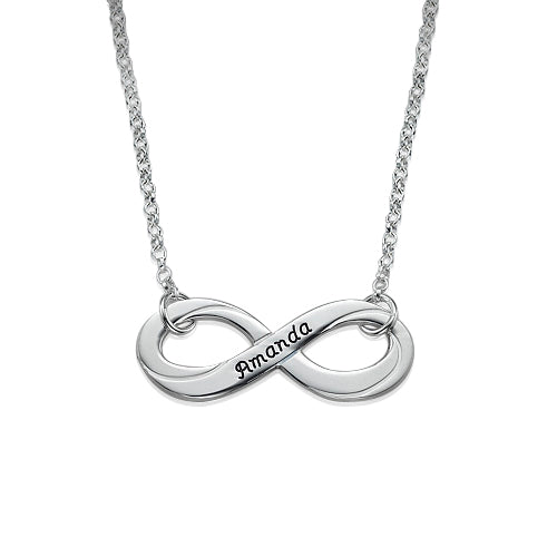 0.925 Silver Engraved Infinity Necklace