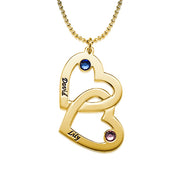 18k Gold-Plated Silver Necklace - Heart in Heart - Birthstones