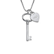 0.925 Silver Engraved Key Necklace - Charm
