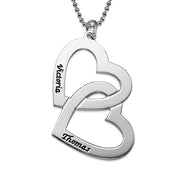 0.925 Silver Necklace with Intertwining Hearts