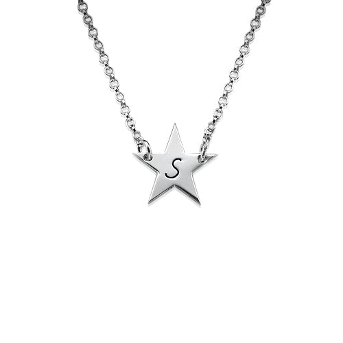 0.925 Silver Initial Star Necklace