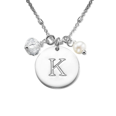 0.925 Silver Charm Initial Disc Necklace