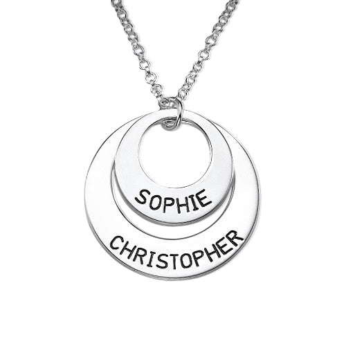 0.925 Sterling Silver Disc Necklace for Moms