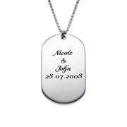 0.925 Silver Dog Tag Necklace