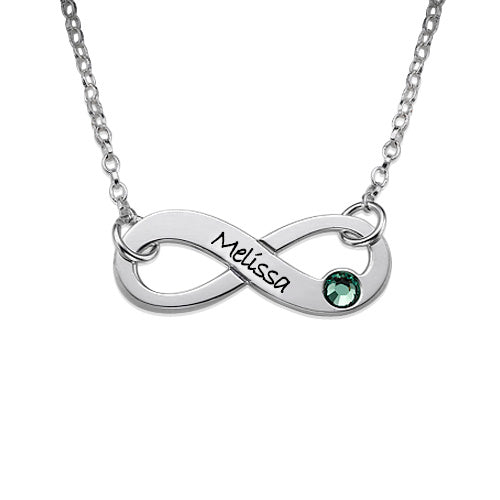 0.925 Silver Engraved Swarovski Infinity Necklace
