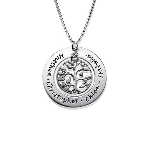 0.925 Silver Family Tree Necklace