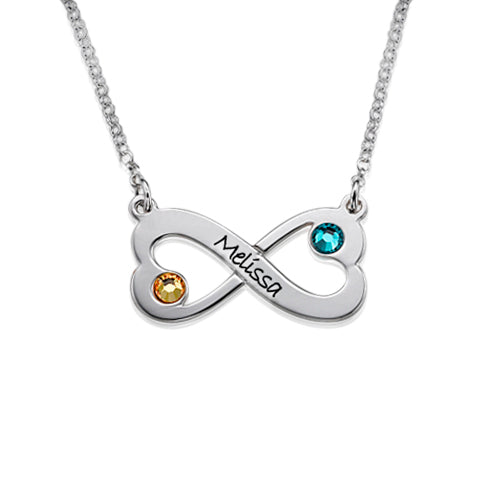 0.925 Silver Engraved Infinity Heart Necklace with Swarovski