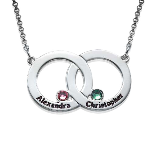 0.925 Silver Interlocking Circle Necklace