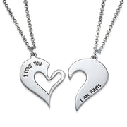 0.925 Silver Breakable Heart Necklace for Couples