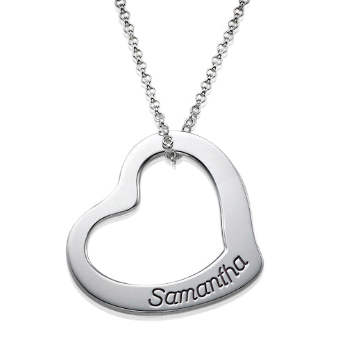 0.925 Silver Floating Heart Necklace
