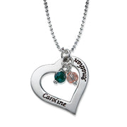 0.925 Silver Hollow Heart Birthstones Necklace