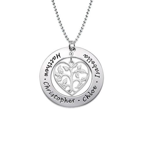 0.925 Silver Heart Family Tree Necklace