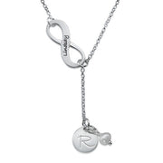 0.925 Silver Infinity Y Shaped Necklace & Initial