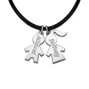 0.925 Sterling Silver Cord Necklace with Kids Charms