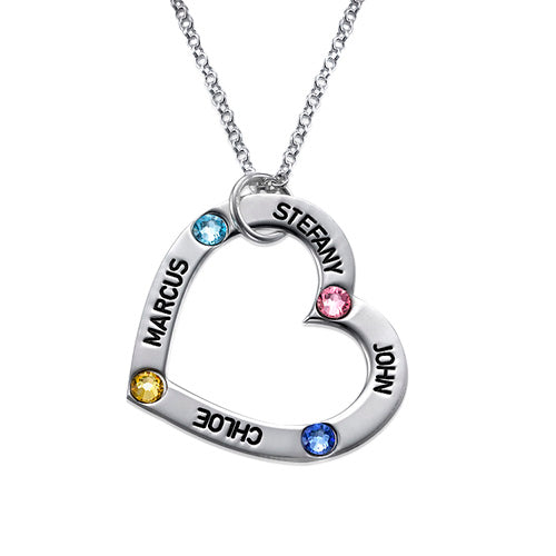 0.925 Silver Birthstone Heart Necklace
