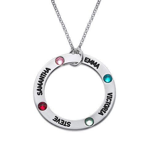 0.925 Silver Engraved Birthstone Necklace