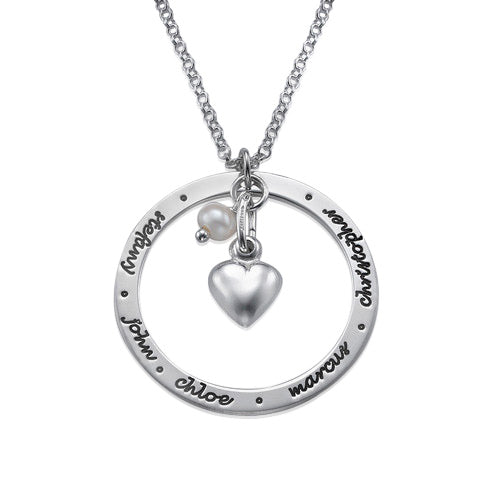 0.925 Silver Mother's Circle Necklace