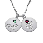 0.925 Sterling Silver Necklace with Pendants featuring Initials