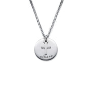 Engraved 0.925 Sterling Silver Disc Necklace