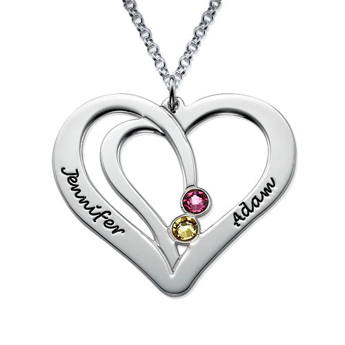 0.925 Silver Engraved Couples Birthstone Necklace