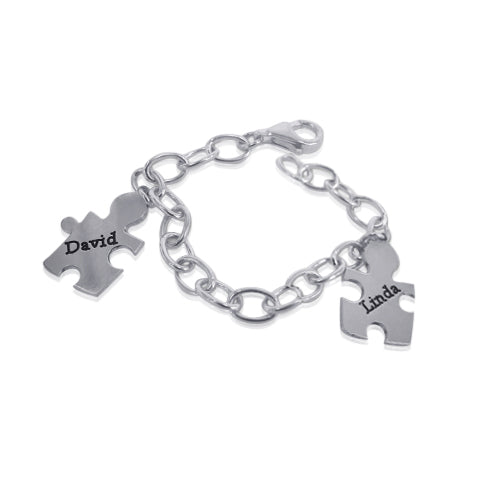 0.925 Silver Engraved Bracelet - Puzzle Charms