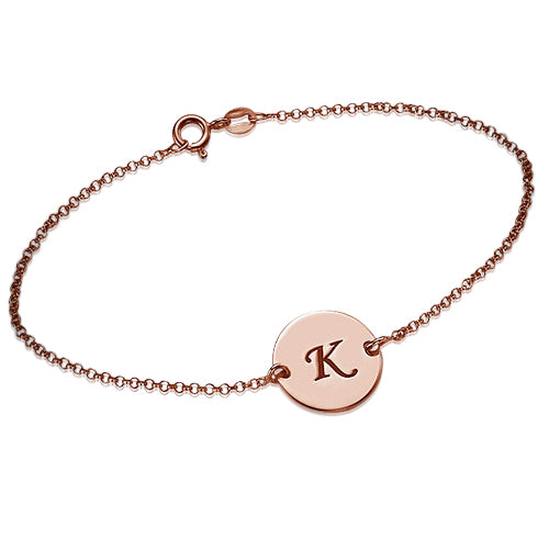 Engraved Rose Gold Plated Disc Bracelet in 0.925 Sterling Silver