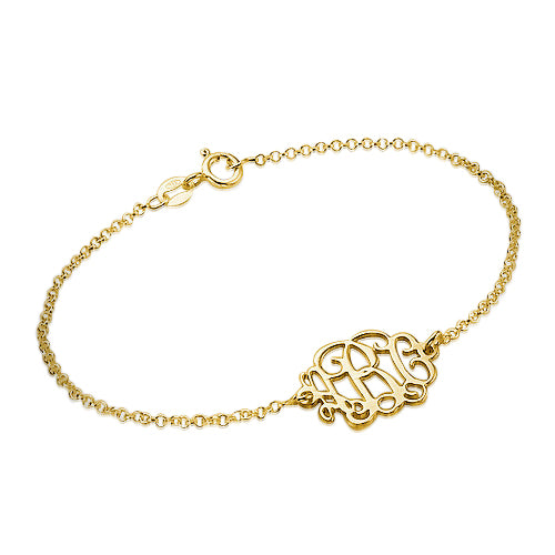 18k Gold Plated 0.925 Silver Monogram Bracelet
