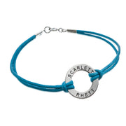 0.925 Silver Circle Bracelet with Leather Cord