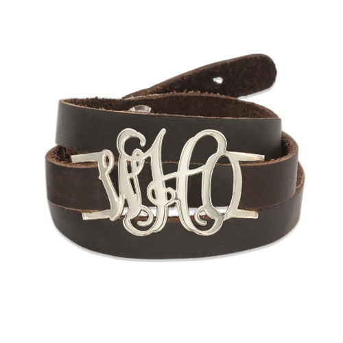Leather Wrap Monogram Bracelet