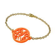 Acrylic Bracelet - Gold Plated Chain - Monogram