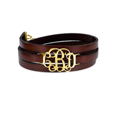 Monogram Leather Bracelet - 18k Gold Plated