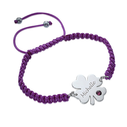 0.925 Silver Clover Bracelet with Birthstone