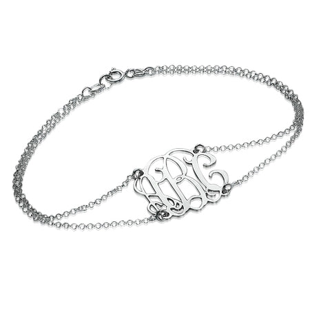 0.925 Sterling Silver Double Chain Monogrammed Bracelet