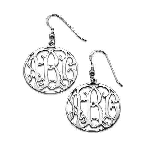 0.925 Silver Monogram Earrings