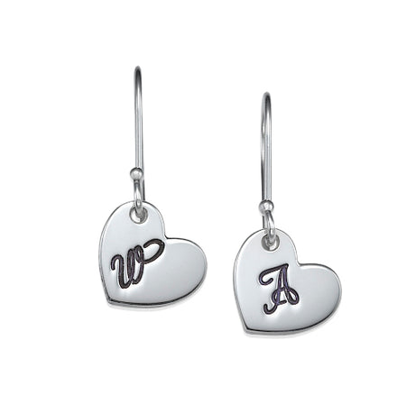0.925 Silver Dangling Initial Heart Earrings