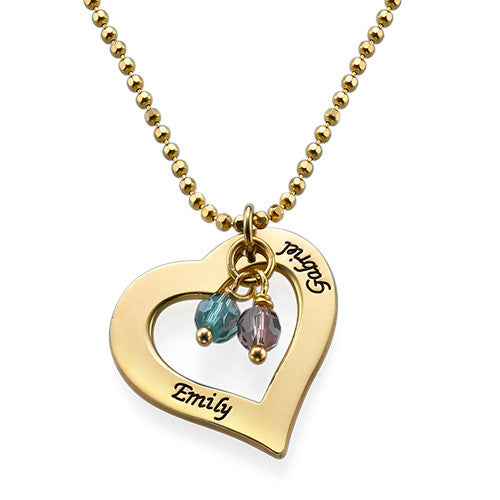 18k Gold Plated Hollow Heart Birthstones Necklace