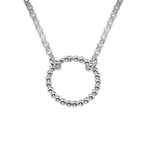 0.925 Sterling Silver Dotted Eternity Ring Karma Necklace