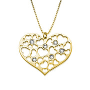 My Only One  18K Gold Plated Sterling Silver Mother Heart Necklace with Birthstones