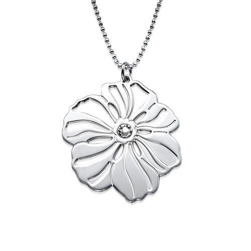 My Only One  Sterling Silver Flower Necklace