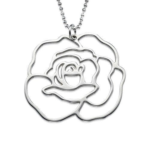 My Only One  Sterling Silver Rose Necklace