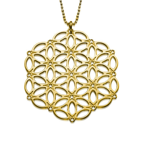 My Only One - Circle of Life Mandala 18K Gold Plated Sterling Silver Necklace