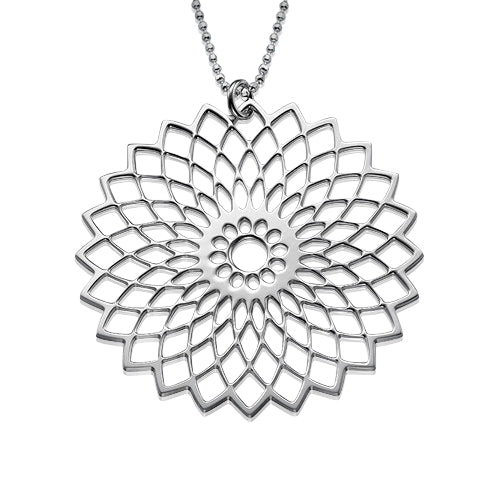 My Only One - Flower Mandala Sterling Silver Necklace