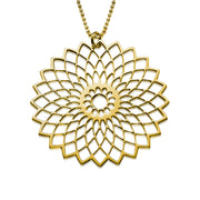 My Only One - Flower Mandala 18K Gold Plated Sterling Silver Necklace